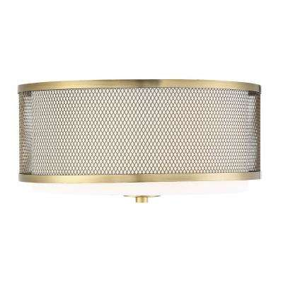 3-Light Natural Brass Semi-Flush Mount with White Fabric Shade