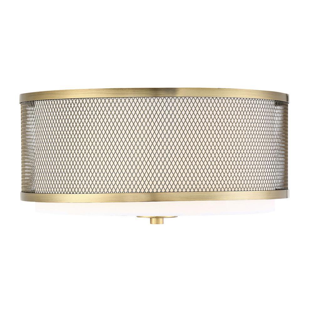 3-Light Natural Brass Semi-Flushmount with White Fabric Shade