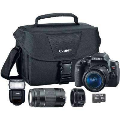EOS Rebel T6i 18-55 mm Lens Camera with Shoulder Bag, Flash Head, 16GB MicroSD and Additional 50 mm and 75-300 mm Lens