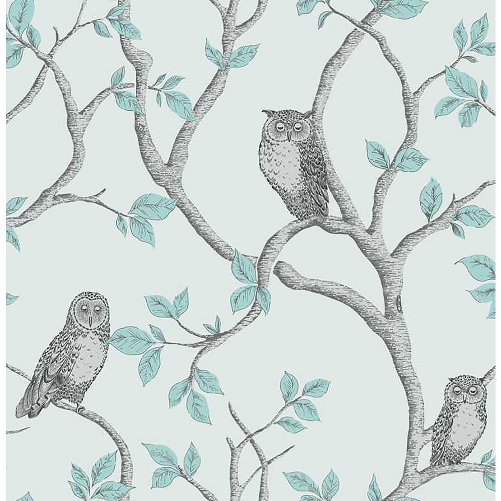 56.4 sq. ft. Linden Teal Owl Wallpaper