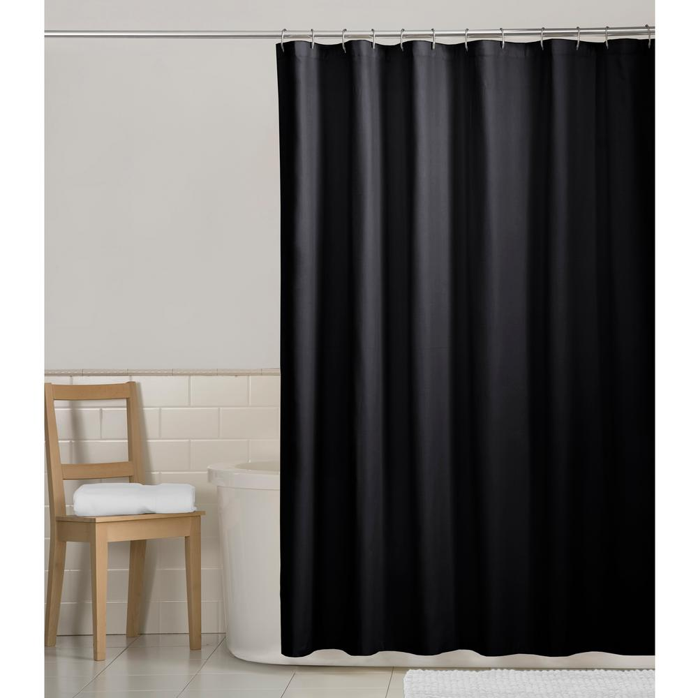 Water Repellent Fabric Shower Curtain Liner In Black