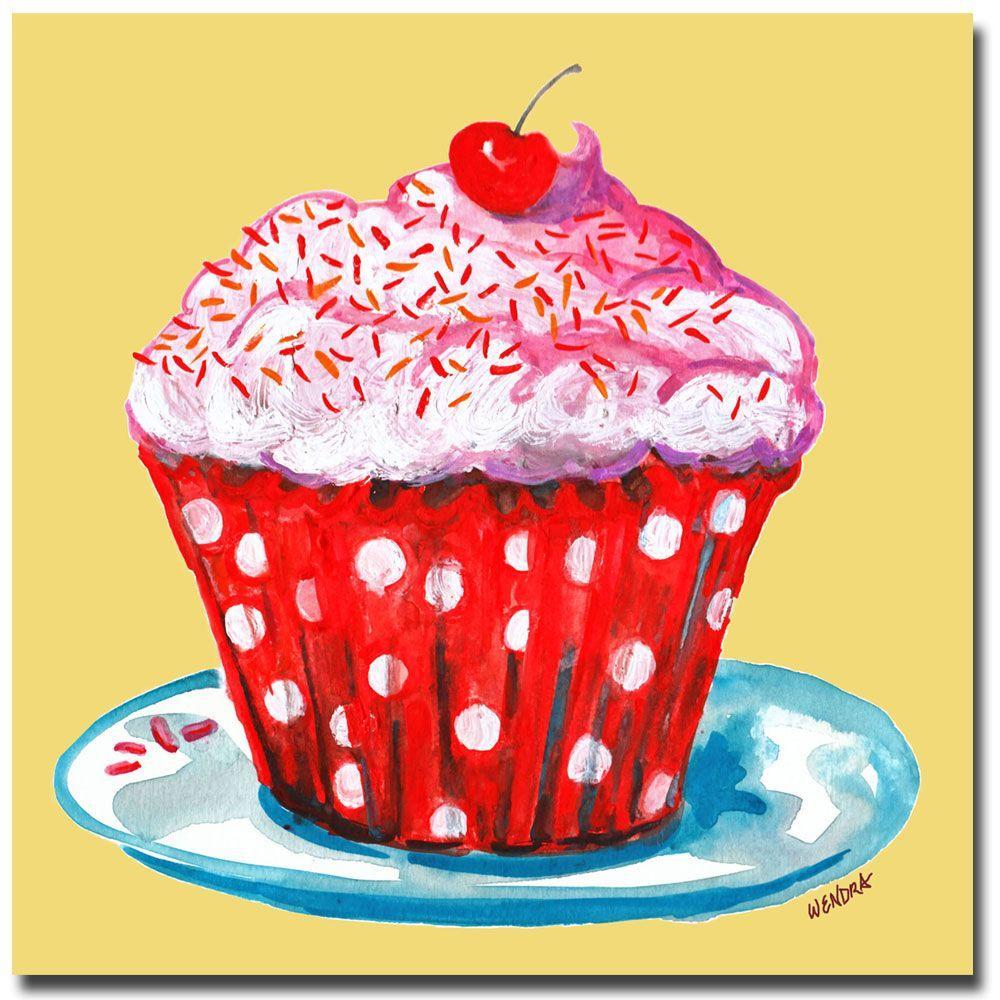 14 in. x 14 in. Cupcake Canvas Art