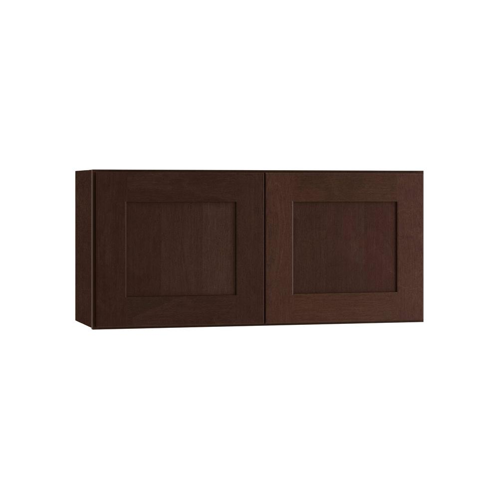 Home Decorators Collection Franklin Assembled 30x15x12 in. Double Door Wall Kitchen Cabinet in Manganite