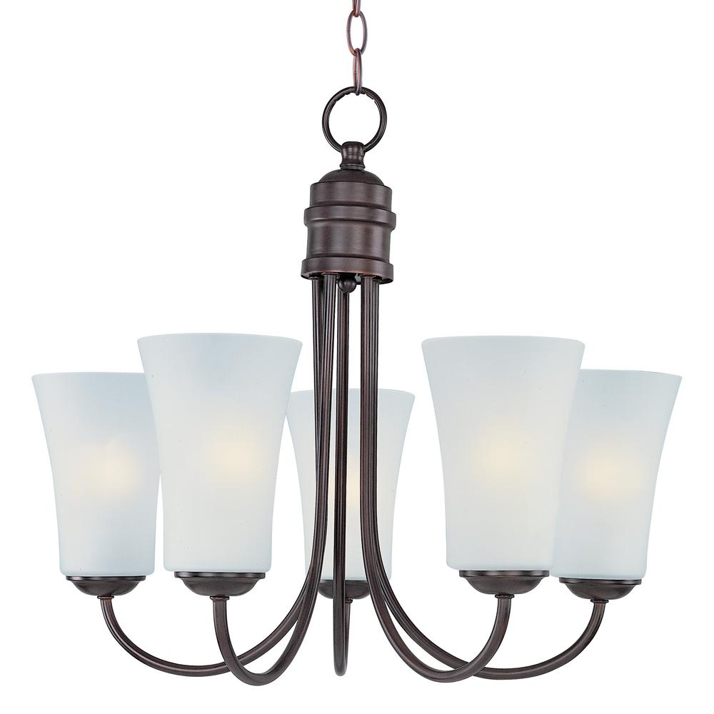 Logan 5-Light Oil Rubbed Bronze Chandelier with Frosted Shade