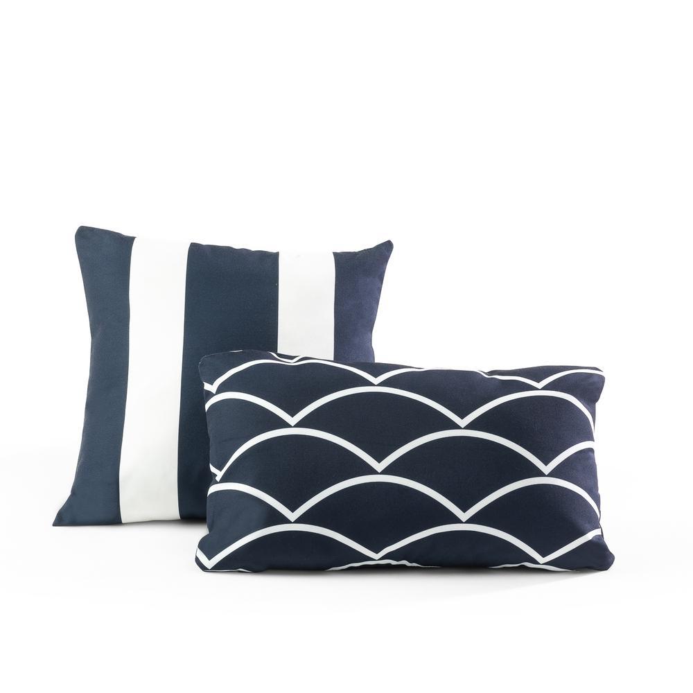 Tecoria Navy Mixed Pattern square Outdoor Pillow - Set of Two