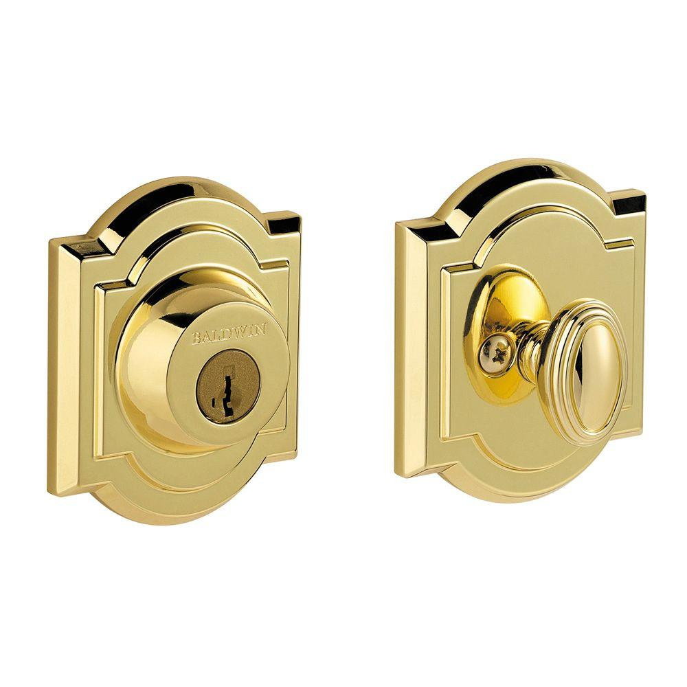 Baldwin Prestige Single Cylinder Polished Brass Arched
