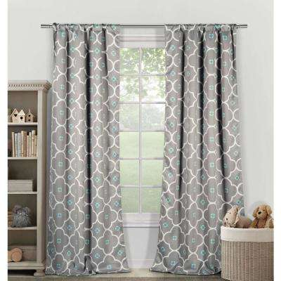 Blackout Gingalia 84 in. L Blackout Pole Top Panel in Grey Blue (2-Pack)