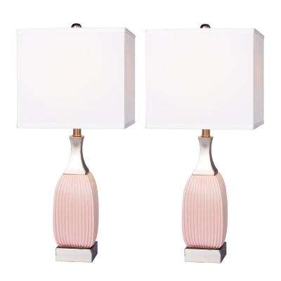 26.5 in. Vertically Ribbed Pink Ceramic and Nickel Metal Table Lamp (2-Pack)