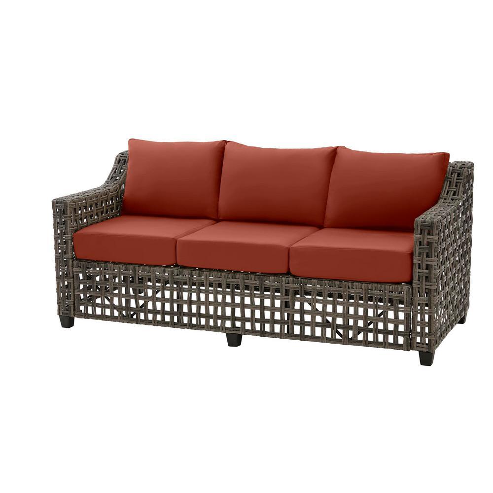 Briar Ridge Brown Wicker Outdoor Patio Sofa with Sunbrella Henna Red Cushions