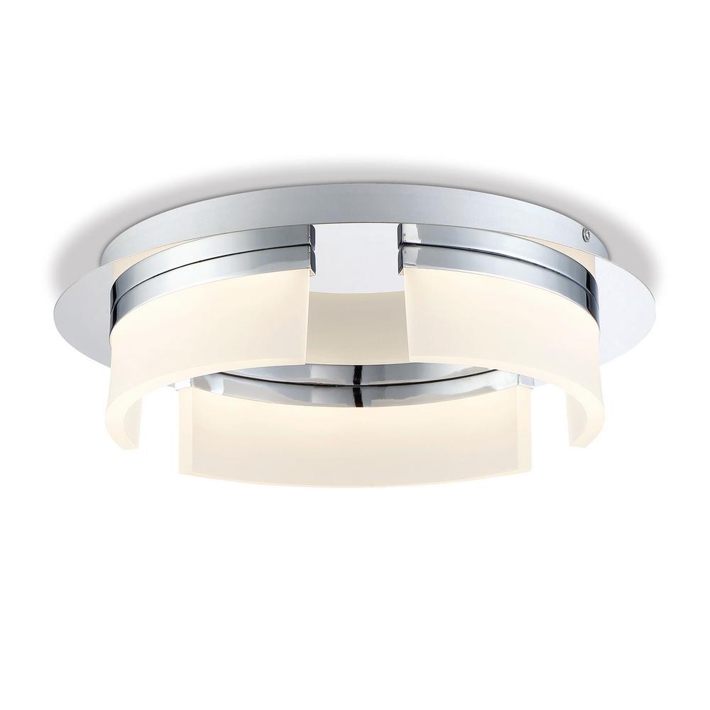 Bria Collection 30-Watt Chrome Integrated LED Flushmount