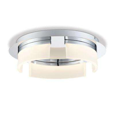 Bria Collection 30-Watt Chrome Integrated LED Flushmount