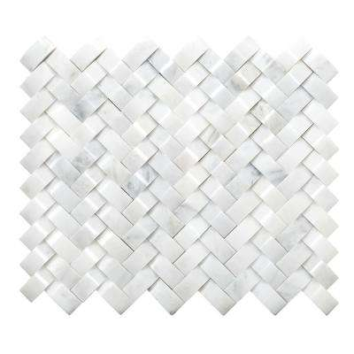 Marble Winter Frost Honed 11.02 in. x 12.99 in. x 12 mm Marble Mesh-Mounted Mosaic Tile (1.04 sq. ft.)