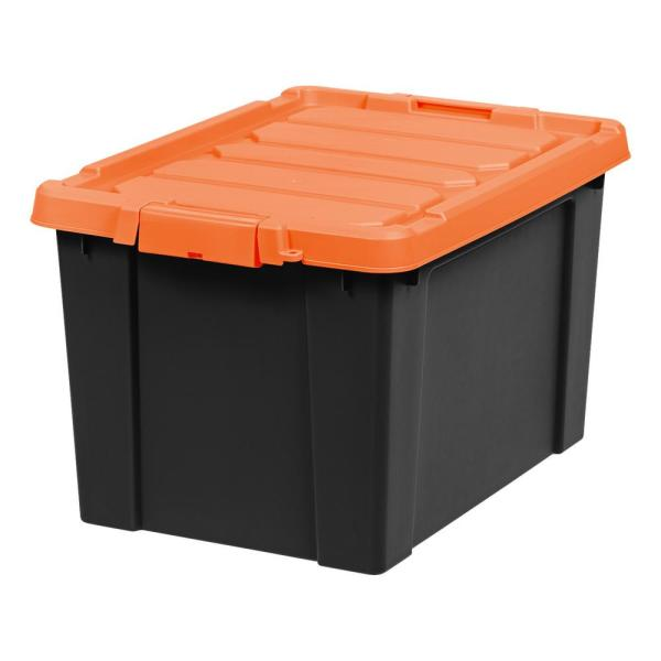 19-Gal. Store-It-All Tote in Black with Orange Lid and Buckle