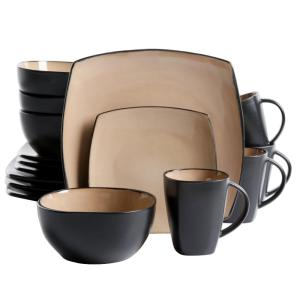 Click here to buy GIBSON HOME Soho Lounge 16- Piece Taupe Dinnerware Set by GIBSON HOME.