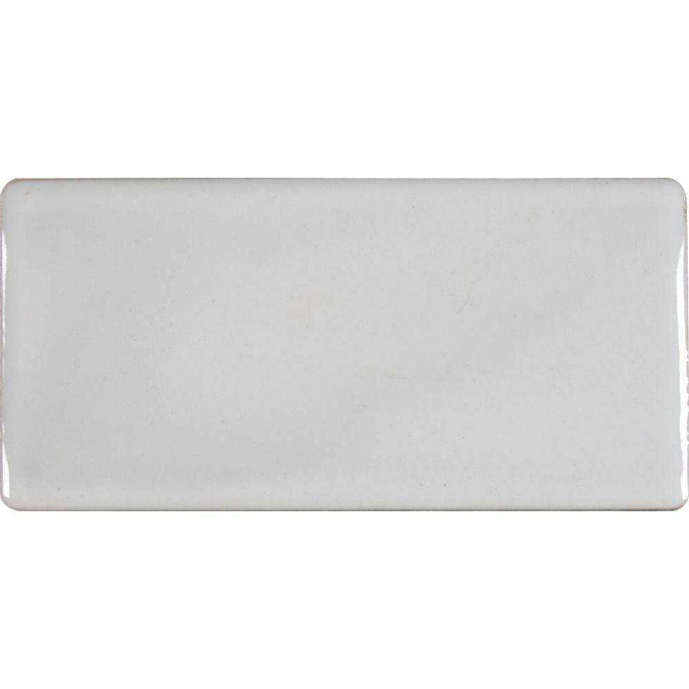 Whisper White 3 in. x 6 in. Handcrafted Glazed Ceramic Wall