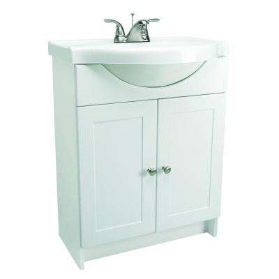 25 in. Euro Style Vanity in White with Cultured Marble Belly Bowl Vanity Top in White