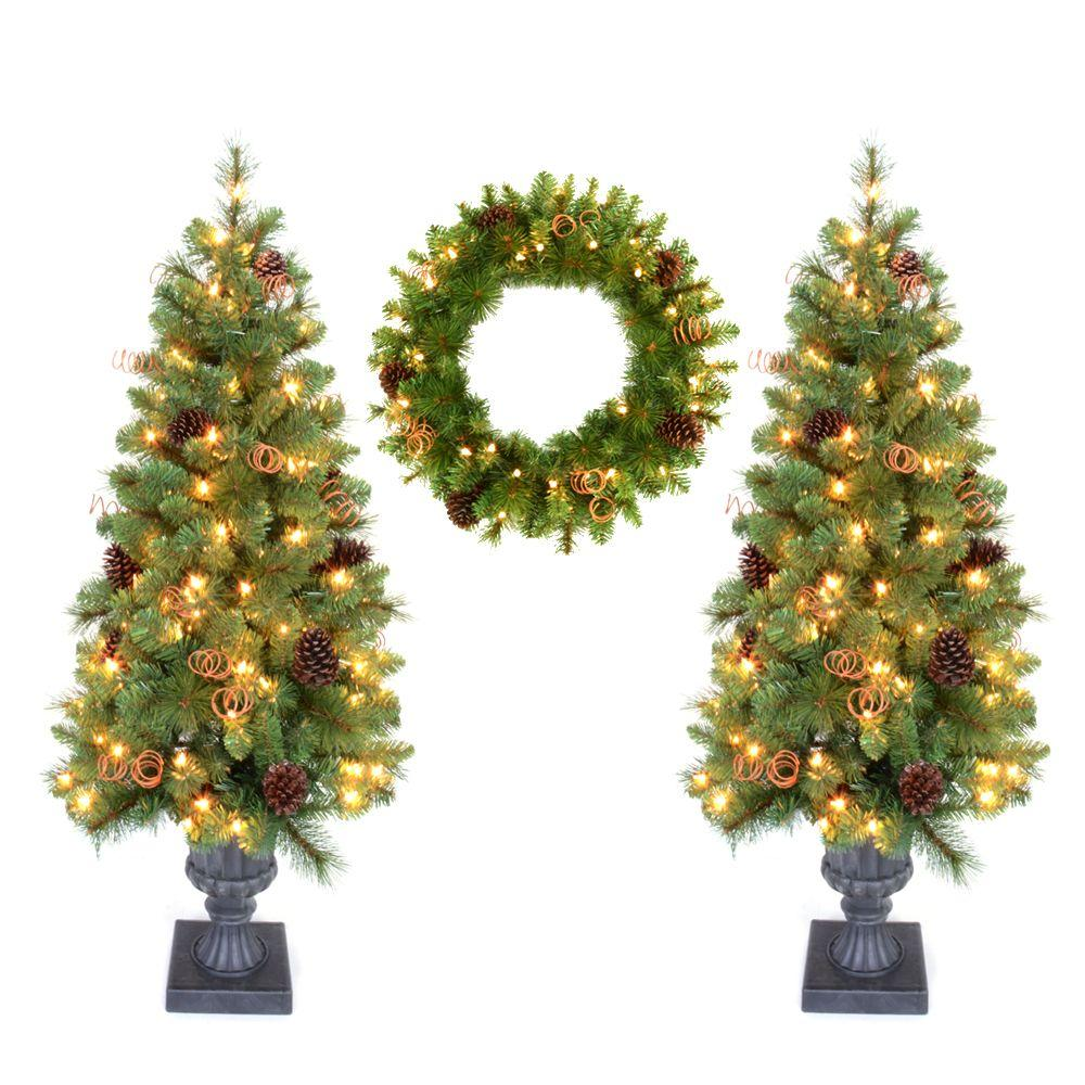 Home Accents Holiday Double 4 ft. Pot Tree Artificial Christmas Tree and 24 in. Wreath with ...