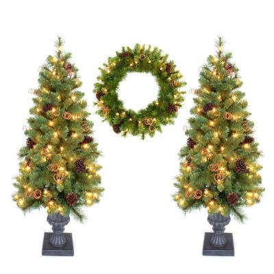 Home Accents Holiday Double 4 ft. Pot Tree Artificial Christmas Tree