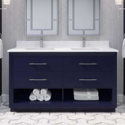 Rio II 60 in. W x 22 in. D Bath Vanity in Blue ENGRD Stone Vanity Top in White with White Basin Power Bar and Organizer