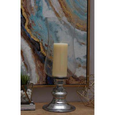 24 in. x 9 in. Classic Aluminum and Glass Hurricane Candle Holder