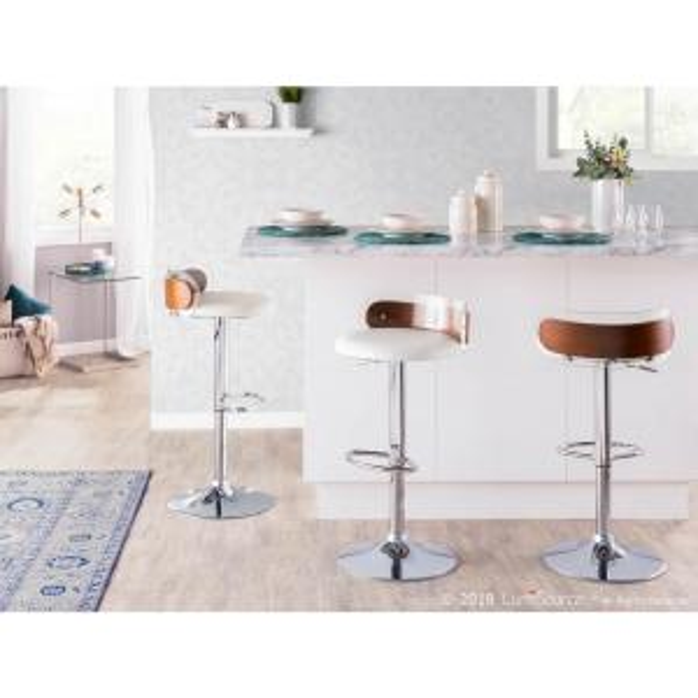 Tremendous Lumisource Arc Walnut Wood And Clear Adjustable Height Bar Evergreenethics Interior Chair Design Evergreenethicsorg