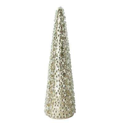 13 in. All That Glitters Beaded and Gold Glittered Christmas Cone Tree Table Top Decoration