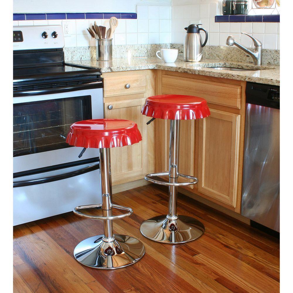 Retro Style Soda Cap Adjustable Height Chrome Bar Stool (Set of