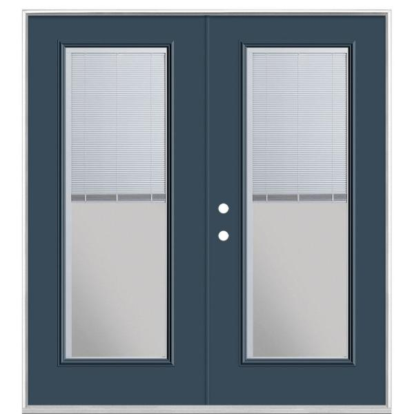 72 in. x 80 in. Night Tide Steel Prehung Right-Hand Inswing Mini Blind Patio Door without Brickmold