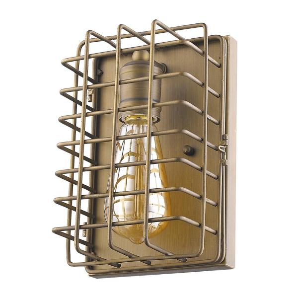 Lynden 6 in. 1-Light Raw Brass Sconce with Wire Cage Shade