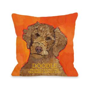 Doodle Orange Graphic Polyester 16 in. x 16 in. Throw Pillow