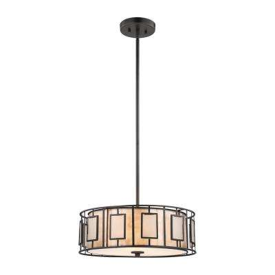 Minden 3-Light Tiffany Bronze Chandelier With Mica And Frosted Seedy Glass Shade