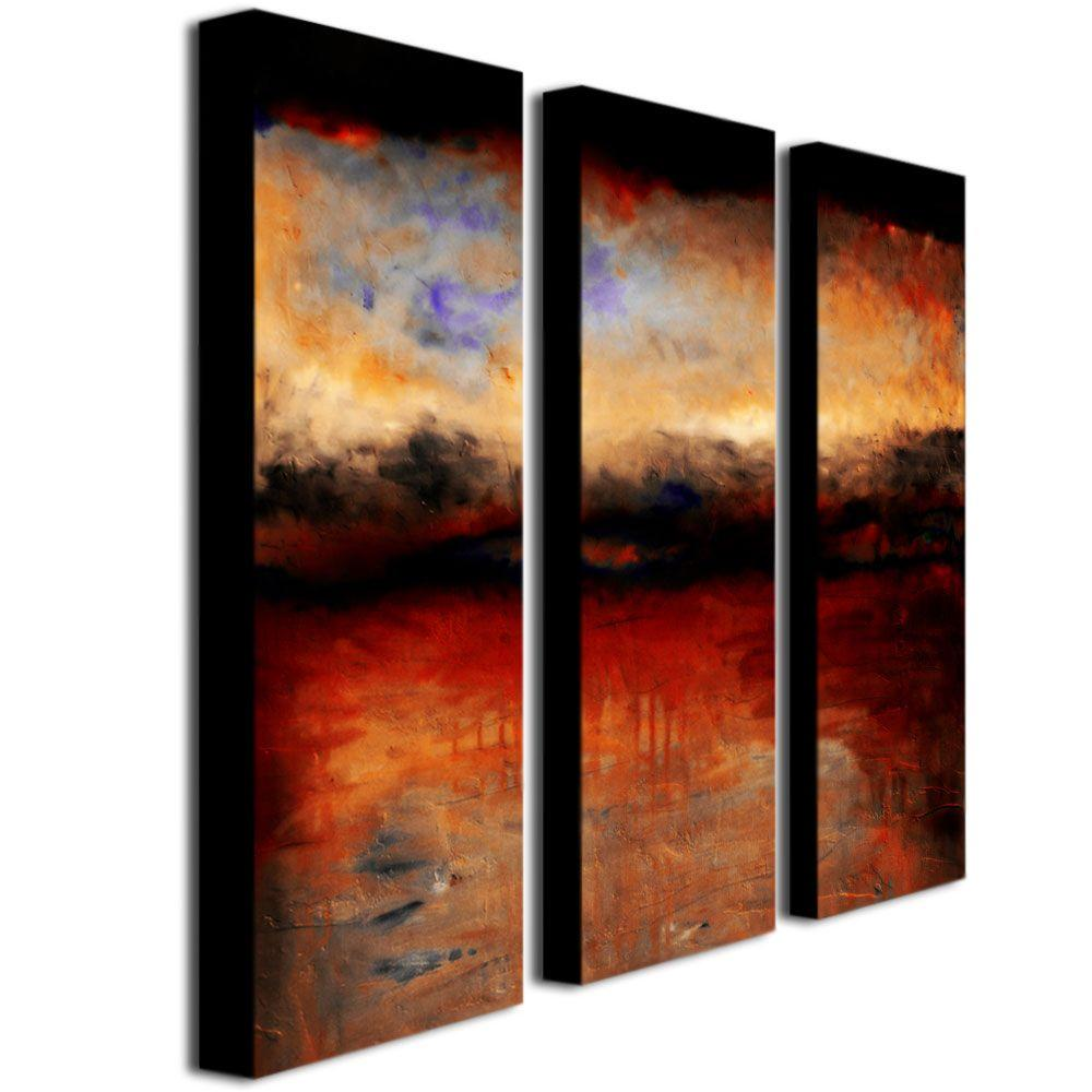 Trademark Fine Art Red Skies At Night By Michelle Calkins 3 Panel