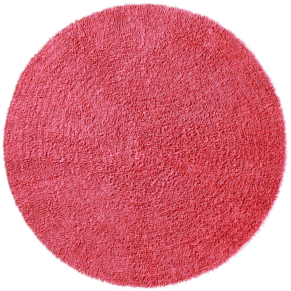 Pink Shag Chenille Twist 2 ft. x 2 ft. Round Accent Rug