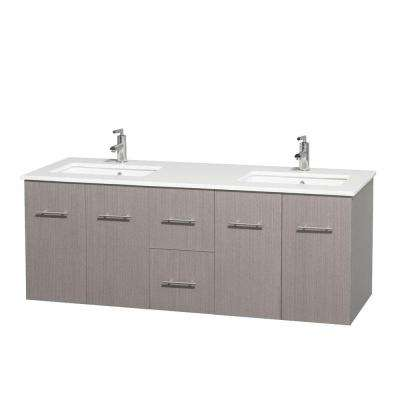 Centra 60 in. Double Vanity in Gray Oak with Solid-Surface Vanity Top in White and Under-Mount Sinks