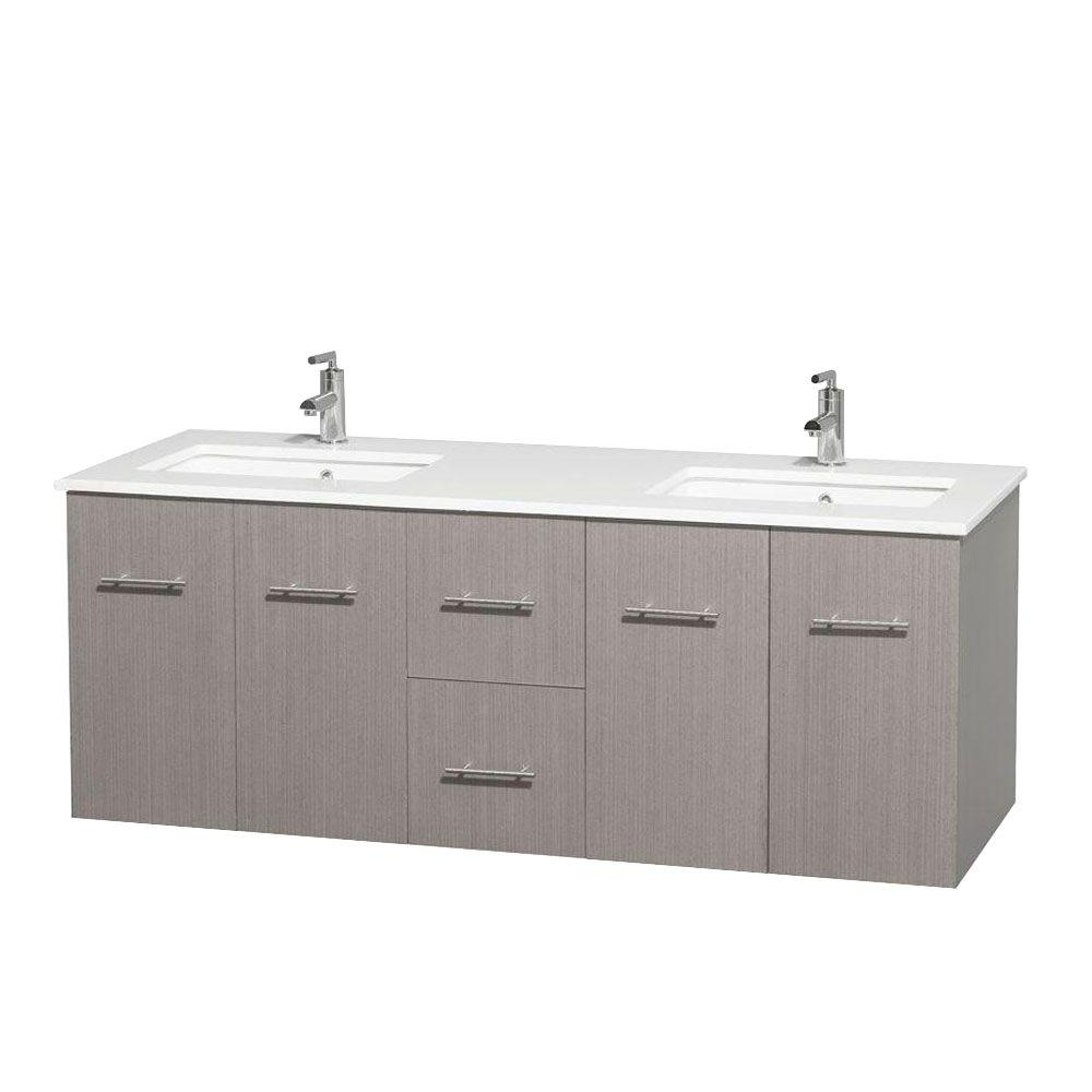 Double Bathroom Vanity Tops Solid Surface : Wyndham collection centra in double vanity gray oak