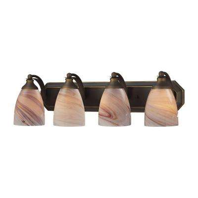 4-Light Aged Bronze Vanity Light with Creme Glass
