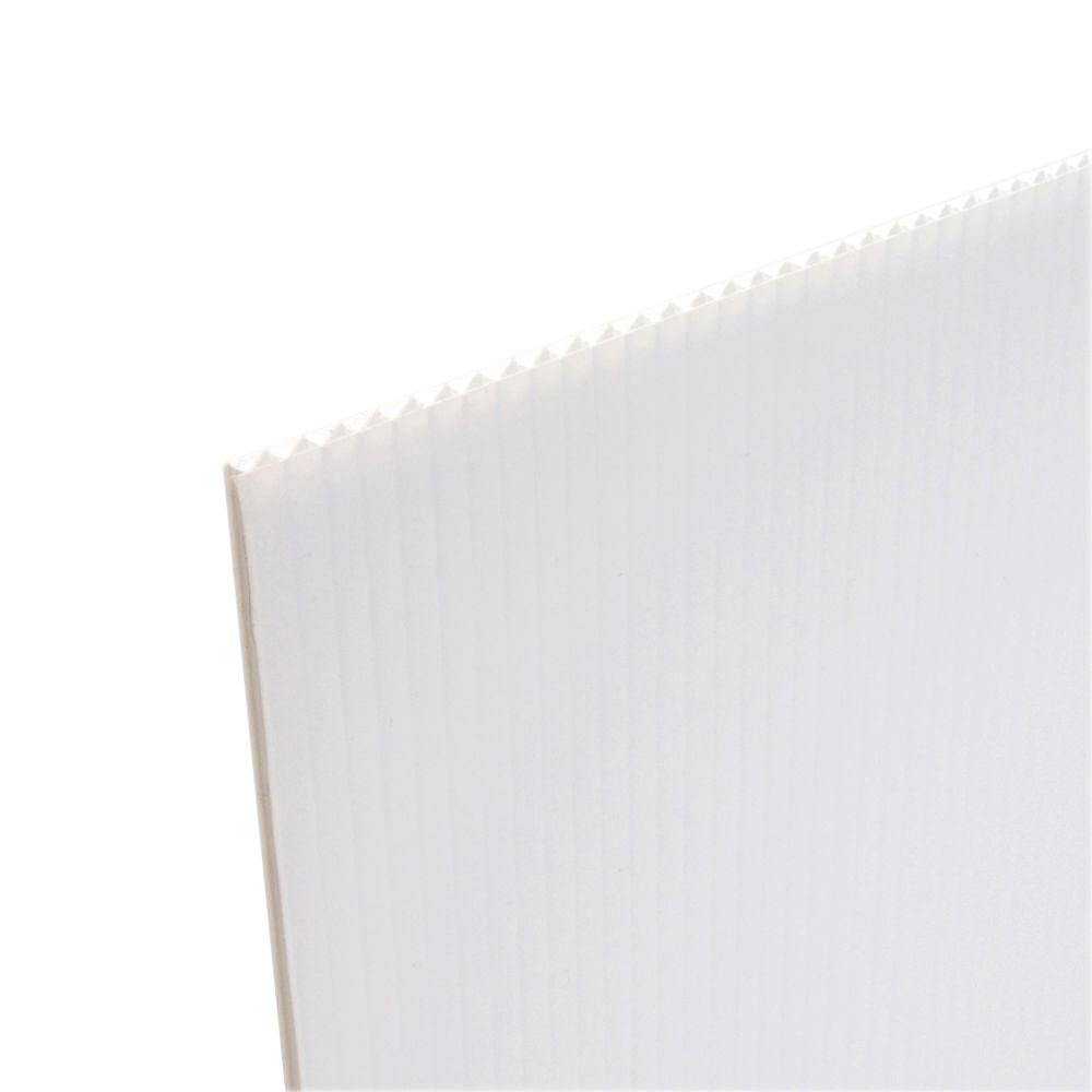 Coroplast 48 in. x 96 in. x .157 in. White Corrugated Plastic Cardboard (10-Pack)