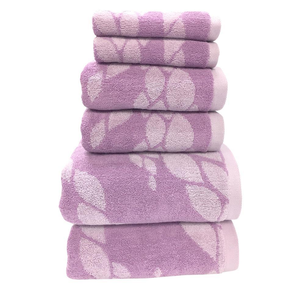 Ripple 6-Piece 100% Cotton Bath Towel Set in Violet