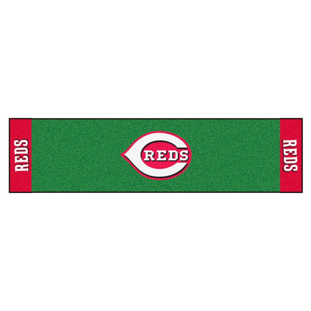MLB Cincinnati Reds 1 ft. 6 in. x 6 ft. Indoor 1-Hole Golf Practice Putting Green