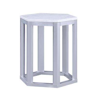 Reon 2-Piece Marble and Silver Pack End Table