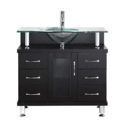 Vincente 36 in. W Bath Vanity in Espresso with Glass Vanity Top in Aqua with Round Basin