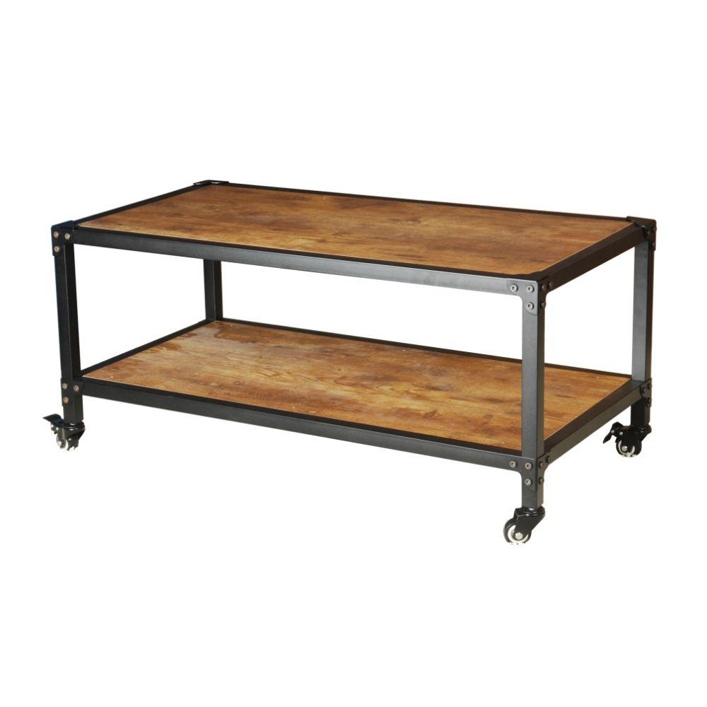 The Urban Port Antiqued Black Wood And Iron Frame Coffee Table With