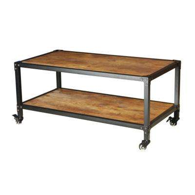 Antiqued Black Wood and Iron Frame Coffee Table with Wheels