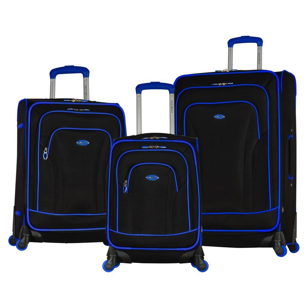 550e6a8b5 Santa Fe 3-Piece Black/Blue Expandable EVA Spinner Set