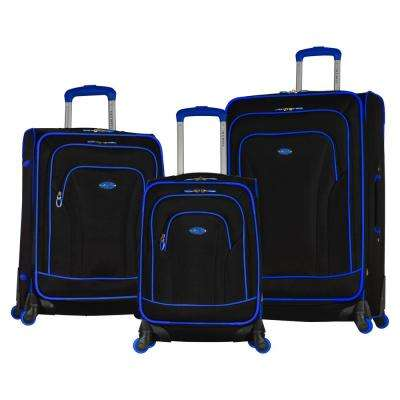 Santa Fe 3-Piece Black/Blue Expandable EVA Spinner Set