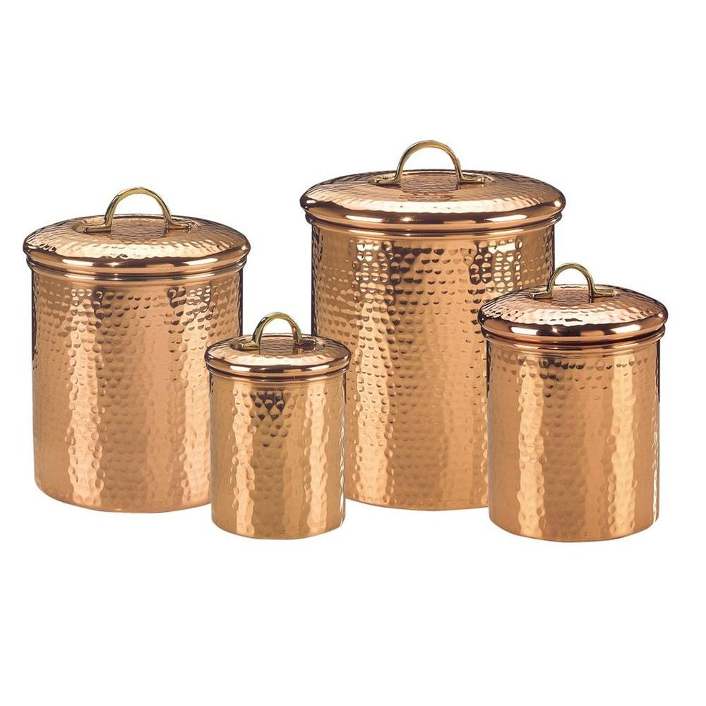 Old Dutch Decor Copper Hammered Canister Set 4 Piece 843 The