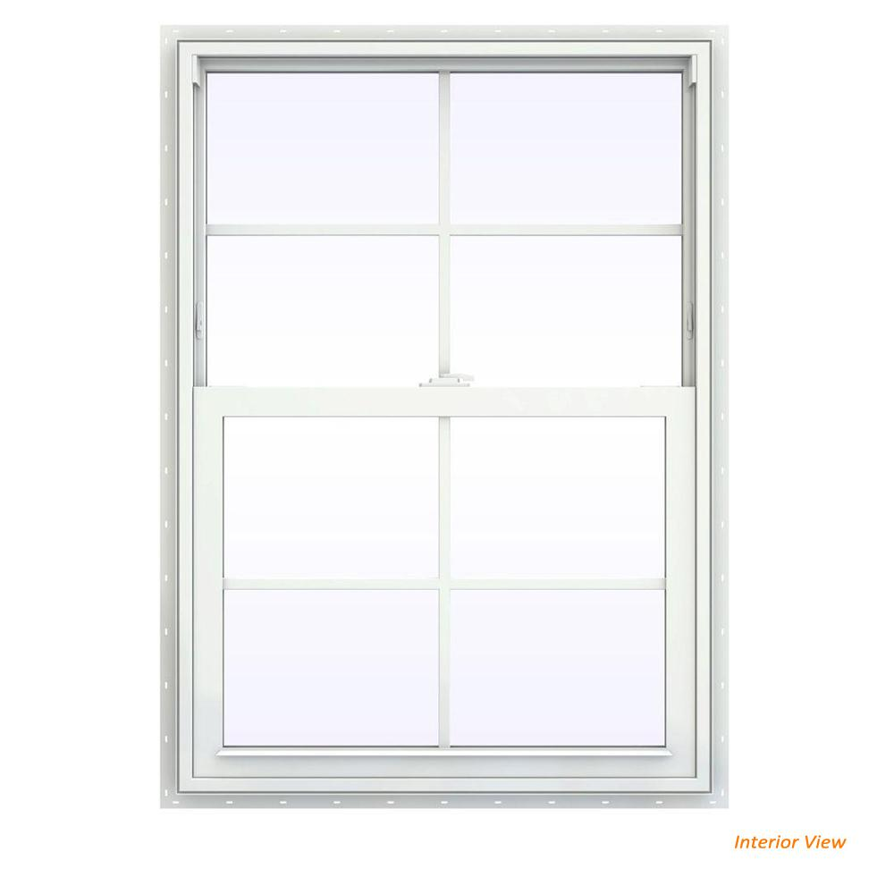 JELD-WEN 29.5 in. x 47.5 in. V-2500 Series White Vinyl Single Hung Window with Colonial Grids/Grilles