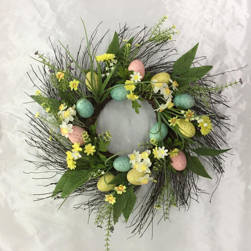 Home Accents 22 In Easter Egg Wreath On Twig Base 2405030hd The Home Depot