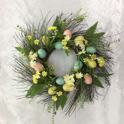 22 in. Easter Egg Wreath on Twig Base