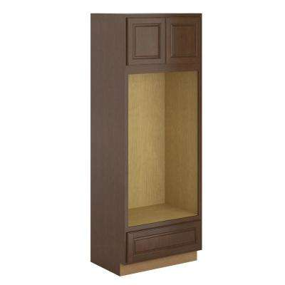 Madison Assembled 33x90x24 in. Pantry/Utility Double Oven Cabinet in Chestnut